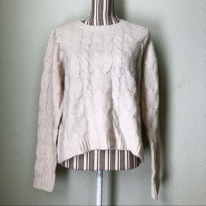 emory park NWT Eliza Cable Knit Pullover Beige L